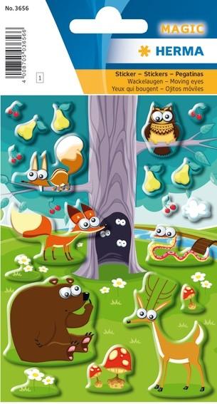 HERMA 3656 10x Sticker MAGIC Tiere im Wald, Wackelaugen