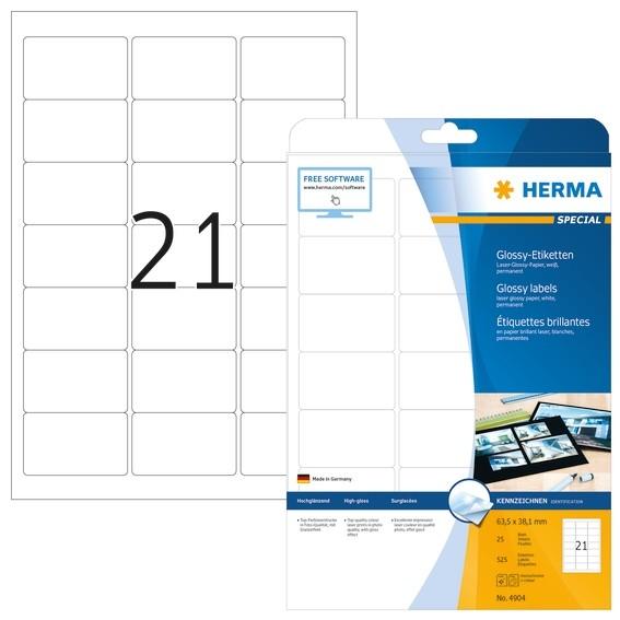 HERMA 4904 Etiketten A4 63,5x38,1 mm weiß Papier glänzend 525 St