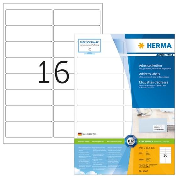 HERMA 4267 Adressetiketten Premium A4 99,1x33,8 mm weiß Papier m