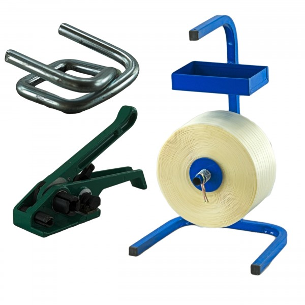 16 mm Textil Umreifung Set Umreifungsband Abroller Bandspanner K