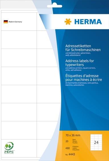 HERMA 4443 Adressetiketten für Schreibmaschinen A4 70x36 mm Papi