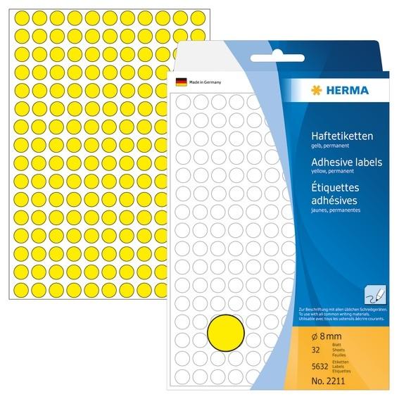 HERMA 2211 Vielzwecketiketten/Farbpunkte Ø 8 mm rund gelb Papier