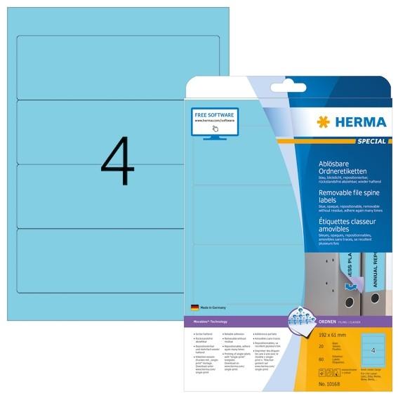 HERMA 10168 Ablösbare Ordneretiketten A4 192x61 mm blau Movables