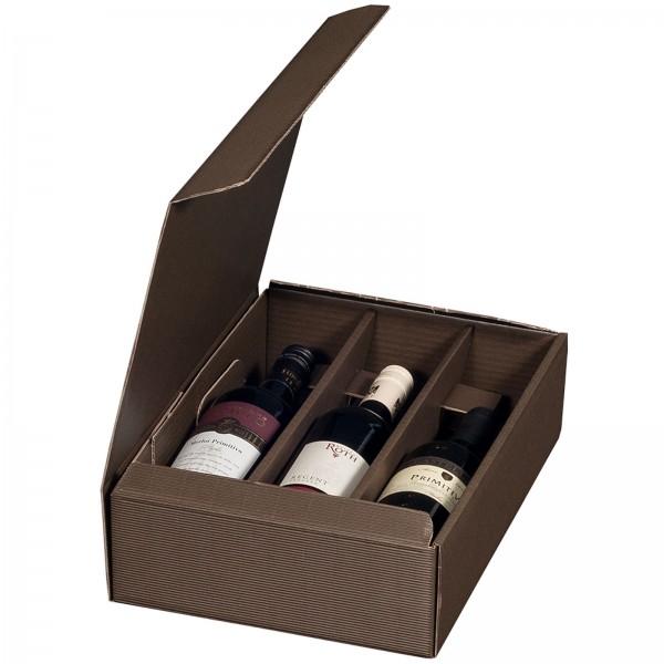 Geschenkkarton für 3 Flaschen Wein 252 x 96 x 363 mm Braun
