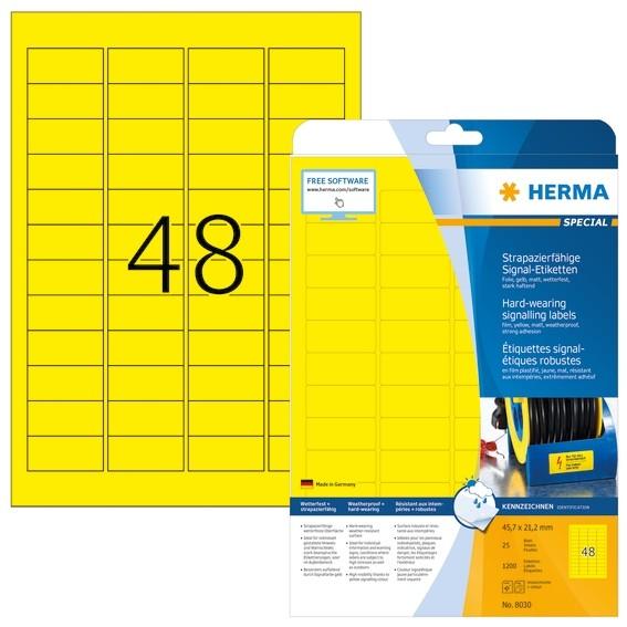 HERMA 8030 Signal-Etiketten strapazierfähig A4 45,7x21,2 mm gelb