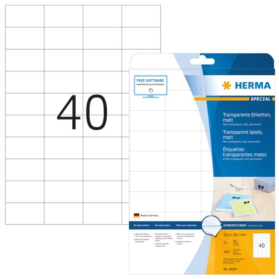 HERMA 4684 Etiketten transparent matt A4 52,5x29,7 mm Folie 1000
