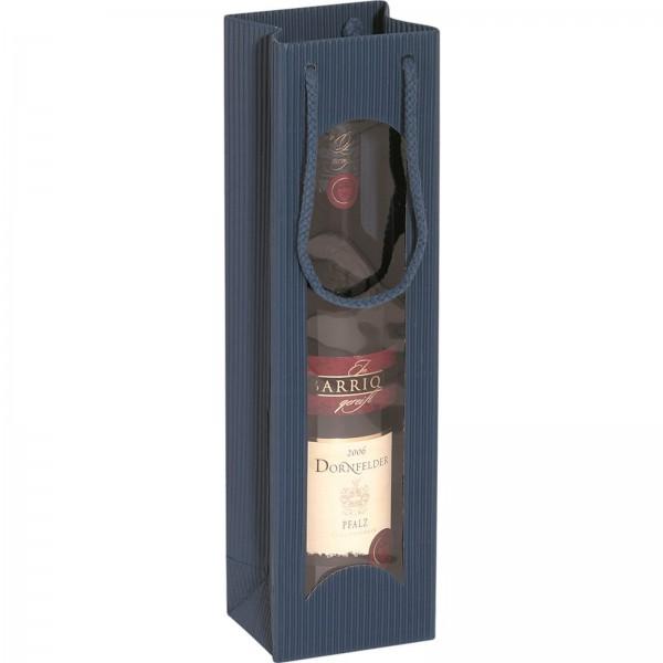 Geschenk-Flaschentasche für 1 Weinflasche mit Sichtfenster Saphir
