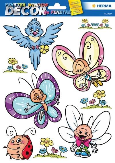 HERMA 15247 5x Fensterdecor Schmetterlingsfamilie & Friends
